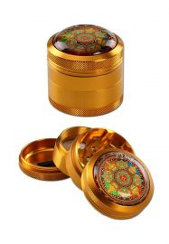 'Black Leaf' 'Mandala' Aluminum Grinder 4-part Gold