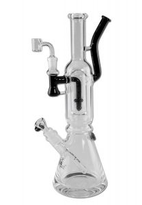 'Black Leaf' 'Double Track' Bong + Dab Rig with 2 Mouthpieces