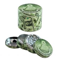 Aluminium 4-Part Herb Grinder 'Dollar' by Black Leaf