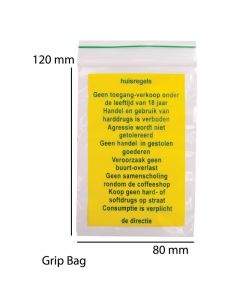 "Grip Bag ""WARNING TEXT"" (80 X 120 X 0,05mm) 100 PCS"