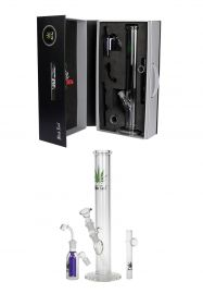'Black Leaf' Boxed Bong Set for Herbs & Oil with Precooler