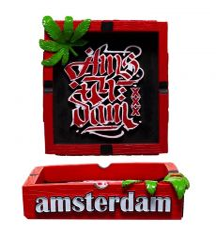 "Clay Ash Tray ""Amsterdam"" with Weed Leaf"