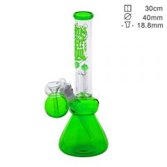 Green Glass 3-Arm Percolator Bong with Pre-Cooler 'Amsterdam'