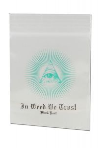 "'Black Leaf' Zip Bags ""In Weed We Trust"" (40x60mm)"