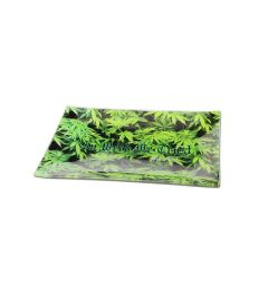 Black Leaf 'Leaves' Glass Rolling Tray (Large)