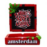 "Clay Ash Tray ""Amsterdam"" with Weed Leaf"