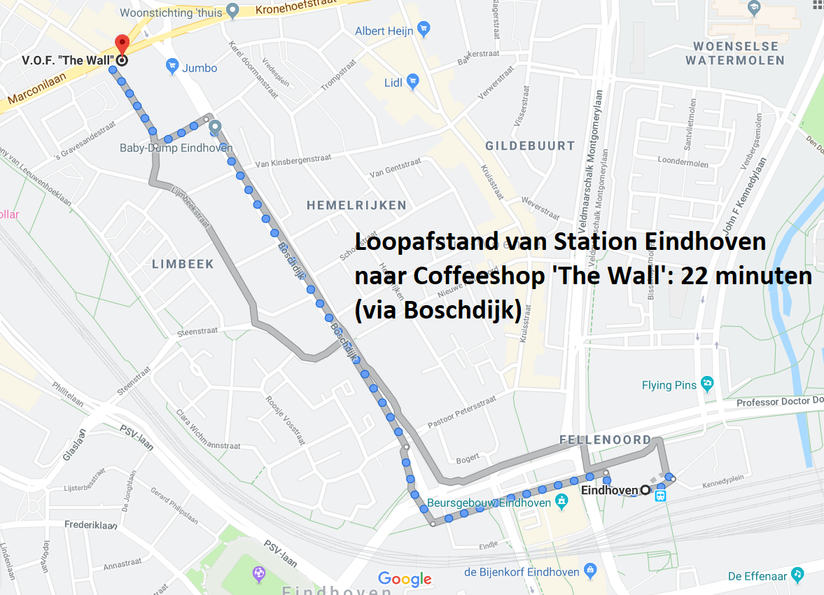 Loopafstand Station Eindhoven - Coffeeshop The Wall